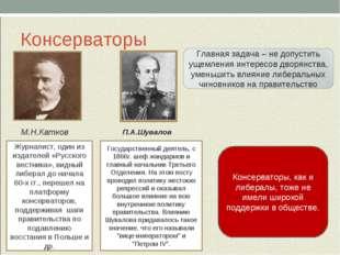 Консерваторы М.Н.Катков П.А.Шувалов Журналист, один из издателей «Русского ве
