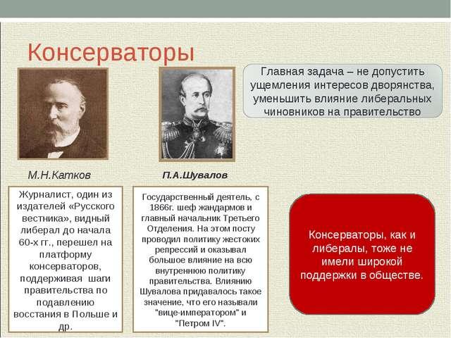 Консерваторы М.Н.Катков П.А.Шувалов Журналист, один из издателей «Русского ве...