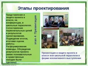 Этапы проектирования Представление и защита проекта в классе, на конференции,