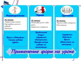 На этапах: Актуализация знаний. Формирование умений и навыков. Рефлексия. Пр