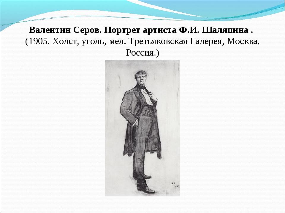 Валентин Серов. Портрет артистаФ.И. Шаляпина . (1905. Холст, уголь, мел. Тр...