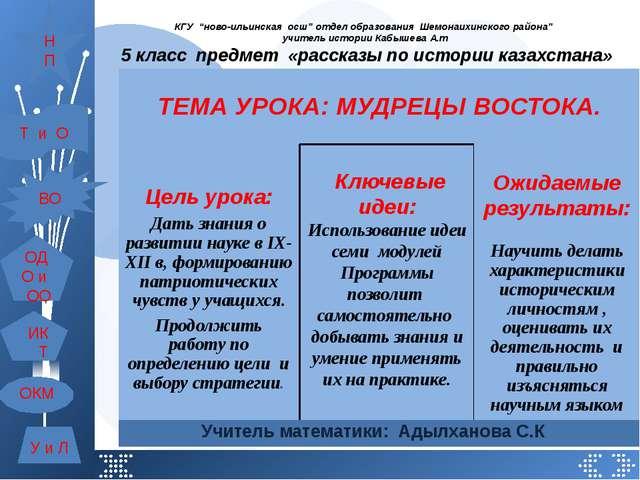 """КГУ """"ново-ильинская осш"""" отдел образования Шемонаихинского района"""" учитель ис..."""