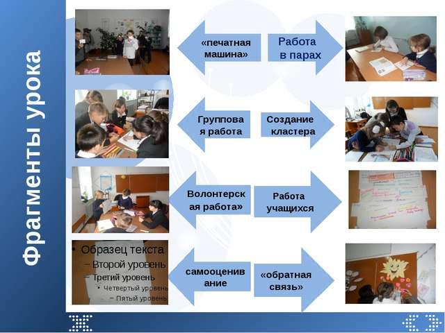 Фрагменты урока Работа в парах Работа учащихся «обратная связь» Создание клас...