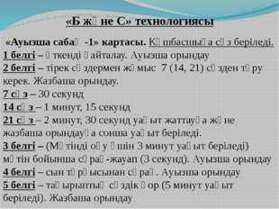 «Б және С» технологиясы «Ауызша сабақ -1» картасы. Көшбасшыға сөз беріледі. 1