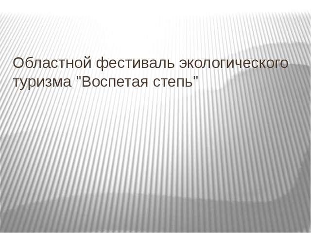 """Областной фестиваль экологического туризма """"Воспетая степь"""""""
