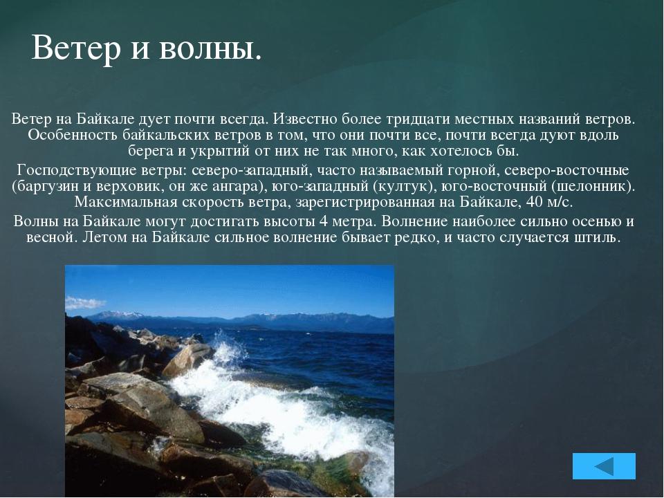 Течения. Как и в любом море, в Байкале существуют течения. Вызваны они разны...