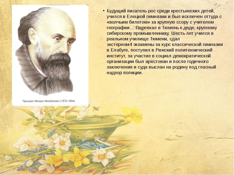 Будущий писатель рос среди крестьянских детей, учился в Елецкой гимназии и бы...