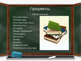 Предметы. Обязательные: Русский язык; Литература; Иностранный язык; Математик