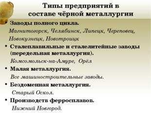 Типы предприятий в составе чёрной металлургии Заводы полного цикла. Магнитого