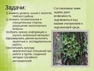 Задачи: Задачи: Задачи: выявить уровень знаний о экологии Нейского района ; п
