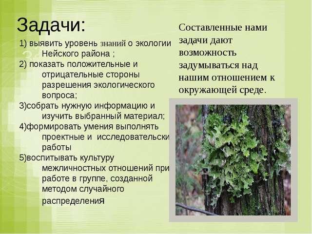 Задачи: Задачи: Задачи: выявить уровень знаний о экологии Нейского района ; п...