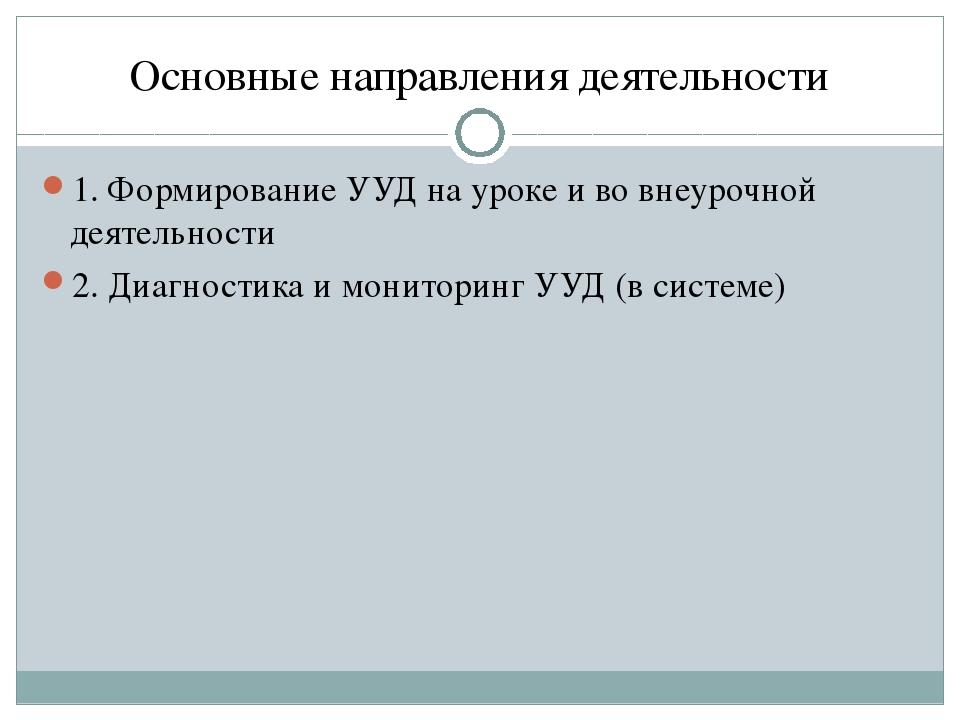 Основные направления деятельности 1. Формирование УУД на уроке и во внеурочно...