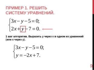 ПРИМЕР 1. РЕШИТЬ СИСТЕМУ УРАВНЕНИЙ. 1 шаг алгоритма. Выразить у через х в одн