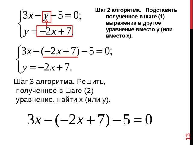 Шаг 2 алгоритма. Подставить полученное в шаге (1) выражение в другое уравнени...