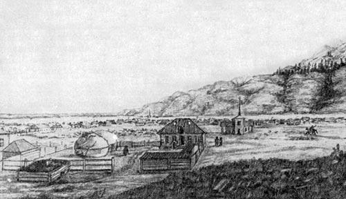 Укрепление Верное в 1857 г. Так выглядело это местечко в тот год, когда П. П. Семенов исследовал центральные районы Тянь-Шаня, где рождается величайшая река Средней Азии Сыр-Дарья. На месте Верного вырос город Алма-Ата — столица Казахской ССР.