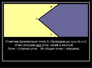 Отметим произвольно точку А. Проведем два луча АВ и АС. И мы получим два угла