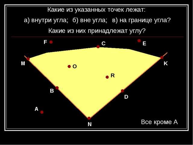 A N D K B M F C E O R Какие из указанных точек лежат: а) внутри угла; Какие и...