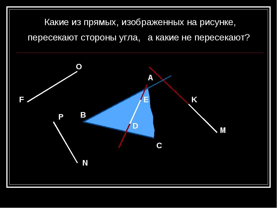 M K O F N P E D A C B Какие из прямых, изображенных на рисунке, пересекают ст...