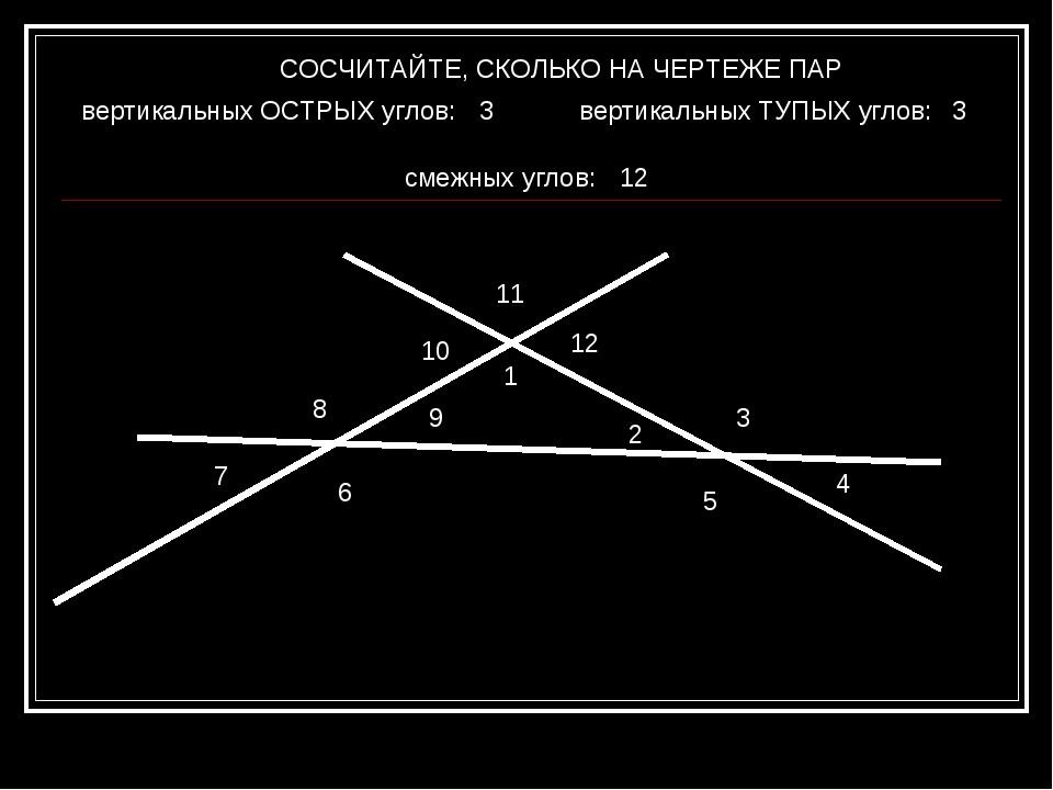 СОСЧИТАЙТЕ, СКОЛЬКО НА ЧЕРТЕЖЕ ПАР вертикальных ОСТРЫХ углов: смежных углов:...