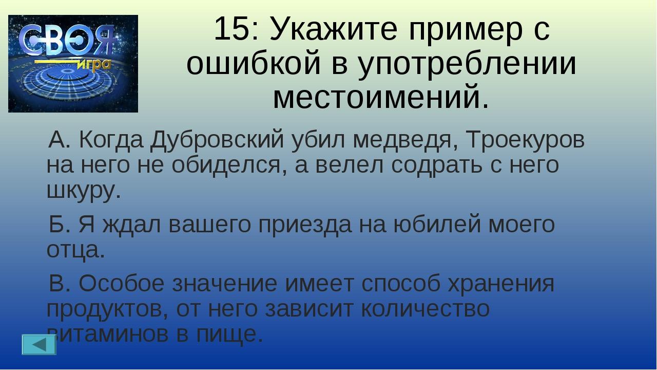 15: Укажите пример с ошибкой в употреблении местоимений. А. Когда Дубровский...