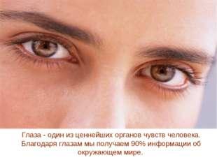 Глаза - один из ценнейших органов чувств человека. Благодаря глазам мы получа