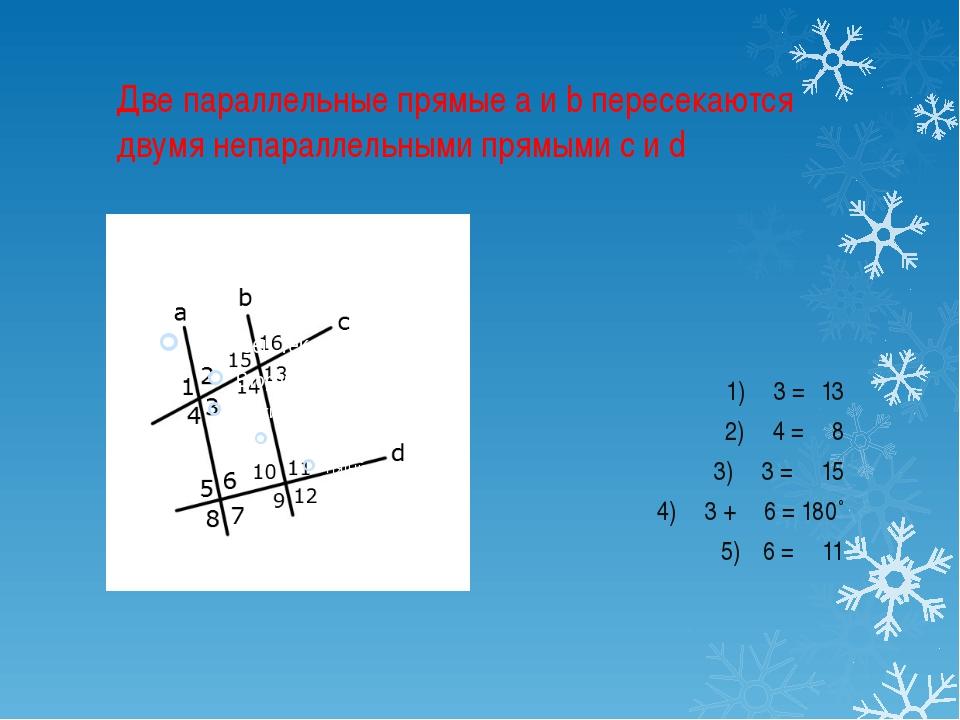 Две параллельные прямые a и b пересекаются двумя непараллельными прямыми c и...