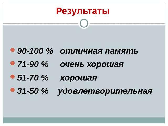 Результаты 90-100 % отличная память 71-90 % очень хорошая 51-70 % хорошая 31-...