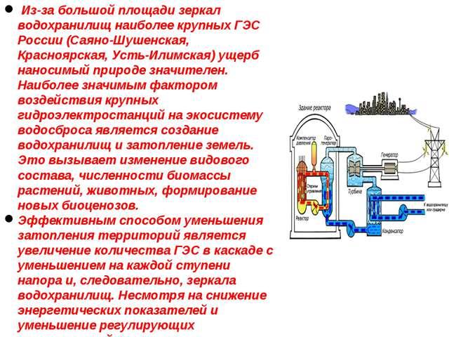 Из-за большой площади зеркал водохранилищ наиболее крупных ГЭС России (Саяно...