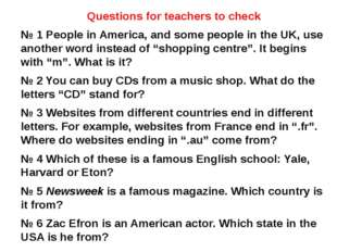 Questions for teachers to check № 1 People in America, and some people in the