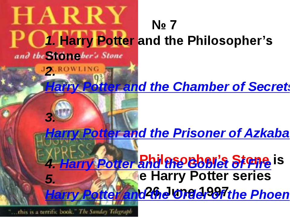 Harry Potter and the Philosopher's Stone is the first novel in the Harry Pot...