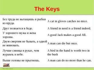 The Keys Без труда не вытащишь и рыбки из пруда. A cat in gloves catches no m