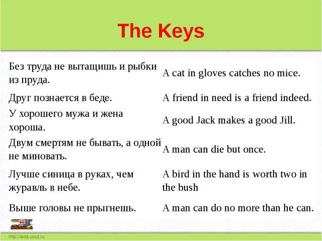The Keys Без труда не вытащишь и рыбки из пруда. A cat in gloves catches no m...