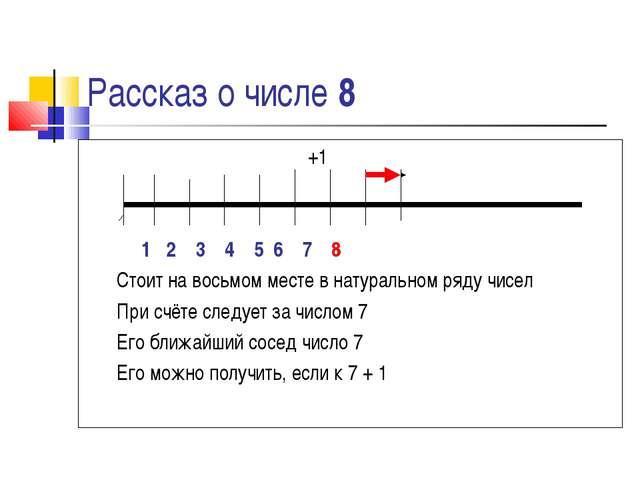 Рассказ о числе 8 +1 1 2 3 4 5 6 7 8 Стоит на восьмом месте в натуральном ряд...