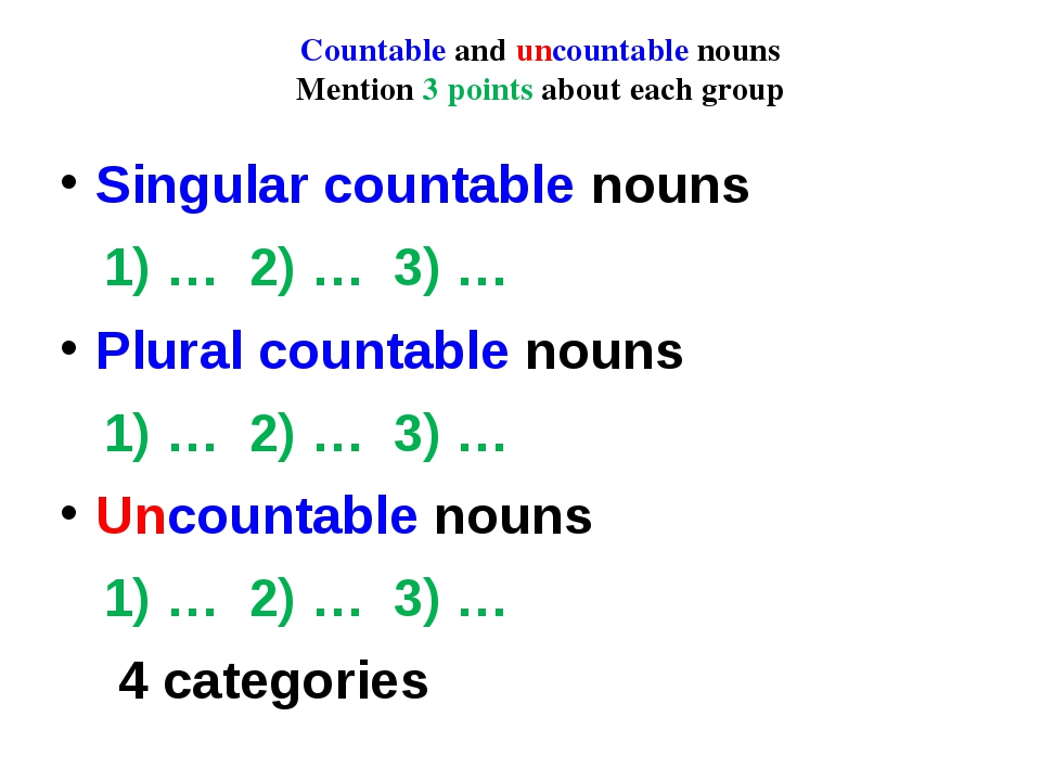 Countable and uncountable nouns Mention 3 points about each group Singular co...
