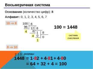 Восьмеричная система Основание (количество цифр): 8 Алфавит: 0, 1, 2, 3, 4,