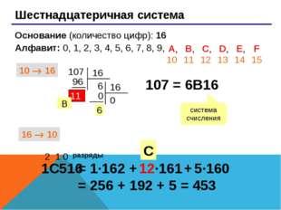 Шестнадцатеричная система Основание (количество цифр): 16 Алфавит: 0, 1, 2,