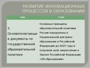 РАЗВИТИЕ ИННОВАЦИОННЫХ ПРОЦЕССОВ В ОБРАЗОВАНИИ Тезис Ответ 3. Основополагающи