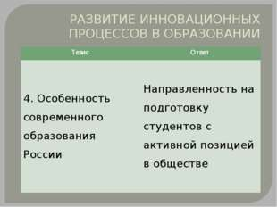 РАЗВИТИЕ ИННОВАЦИОННЫХ ПРОЦЕССОВ В ОБРАЗОВАНИИ Тезис Ответ 4. Особенность сов