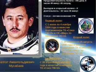 Талгат Амангельдиевич Мусабаев Количество полетов - 3 Продолжительность полет