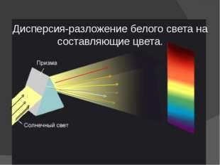 Дисперсия-разложение белого света на составляющие цвета.