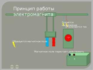 Старт - + Принцип работы электромагнита Подаётся напряжение Образуется магни
