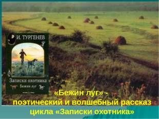 «Бежин луг» - поэтический и волшебный рассказ цикла «Записки охотника»