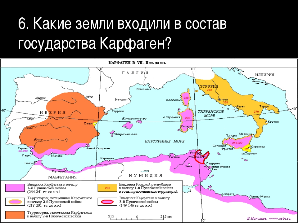 6. Какие земли входили в состав государства Карфаген?