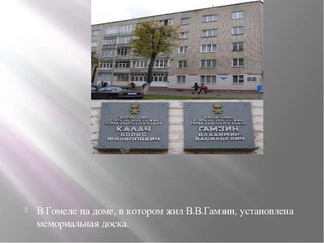 В Гомеле на доме, в котором жил В.В.Гамзин, установлена мемориальная доска.