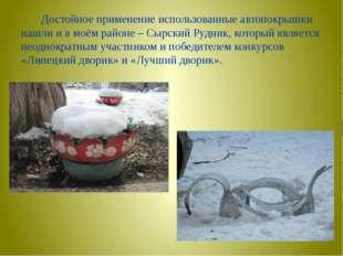 Достойное применение использованные автопокрышки нашли и в моём районе – Сыр
