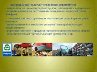 Авторециклинг включает следующие мероприятия: - выявление и учет автотранспо