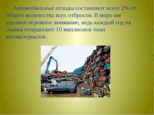 Автомобильные отходы составляют всего 2% от общего количества всех отбросов.