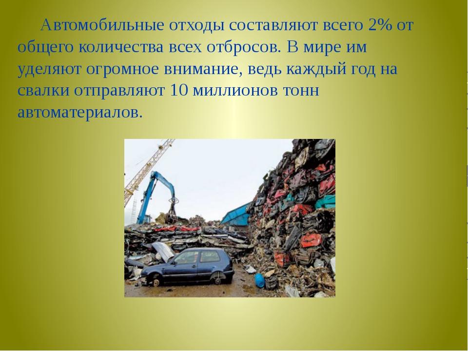 Автомобильные отходы составляют всего 2% от общего количества всех отбросов....