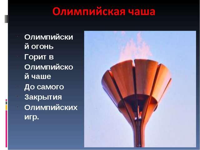 Олимпийский огонь Горит в Олимпийской чаше До самого Закрытия Олимпийских игр.
