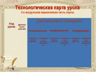 Технологическая карта урока 3-х модульная вариативная часть карты Ход урока